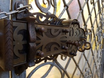 Lock on the gate at the large cathedral at Ebrach